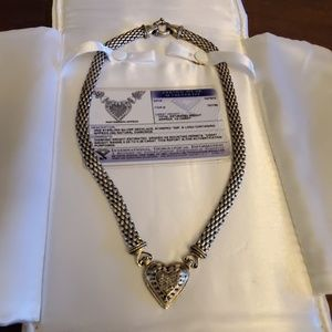 Jewelry - Sterling silver & diamond heart necklace